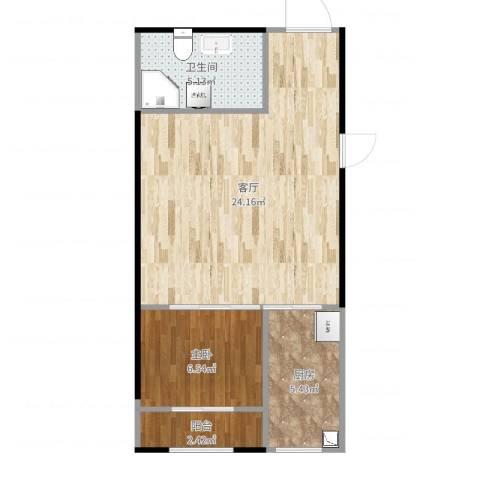 金地世家雅苑4号楼南向一居室1室1厅1卫1厨55.00㎡户型图