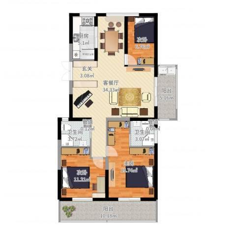 佳源广场3室2厅2卫1厨127.00㎡户型图