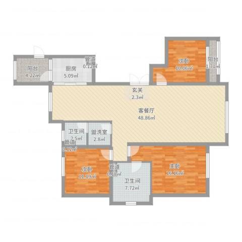 巨华世纪城二期和谐园3室2厅2卫1厨138.00㎡户型图