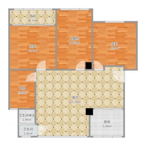 北苑阁新村4室1厅1卫1厨118.00㎡户型图