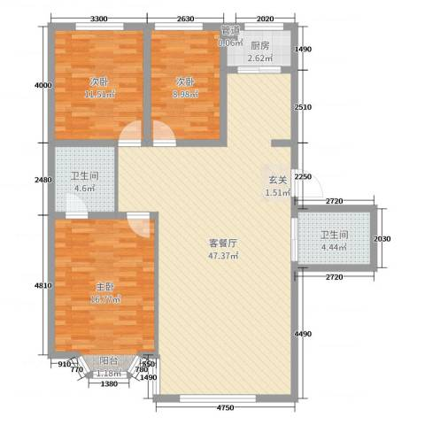 月潭壹英里3室2厅2卫1厨106.00㎡户型图