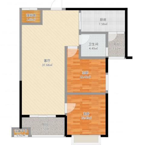 恒大御景湾2室1厅1卫1厨106.00㎡户型图