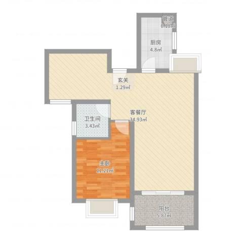 水榭花城1室2厅1卫1厨76.00㎡户型图