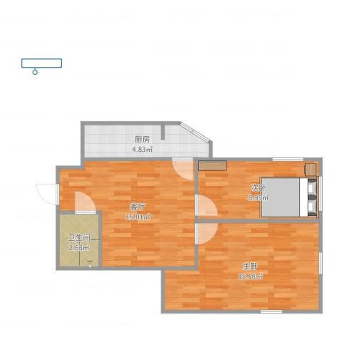 迎水南里2室1厅1卫1厨58.00㎡户型图