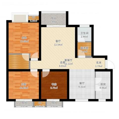 易合坊3室2厅1卫1厨104.00㎡户型图