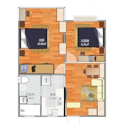 真光八街坊2室1厅1卫1厨61.00㎡户型图