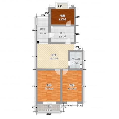 凤凰园公寓3室2厅1卫1厨106.00㎡户型图