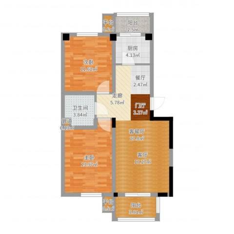四季花苑二期绿地景城2室2厅1卫1厨86.00㎡户型图