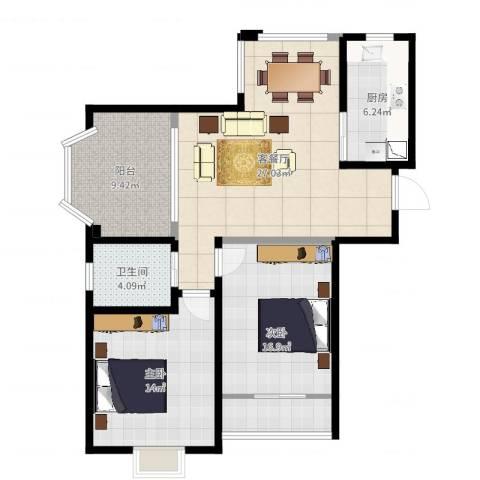 恒文星尚湾2室2厅1卫1厨97.00㎡户型图