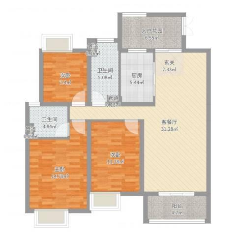 金宝山庄3室2厅2卫1厨114.00㎡户型图