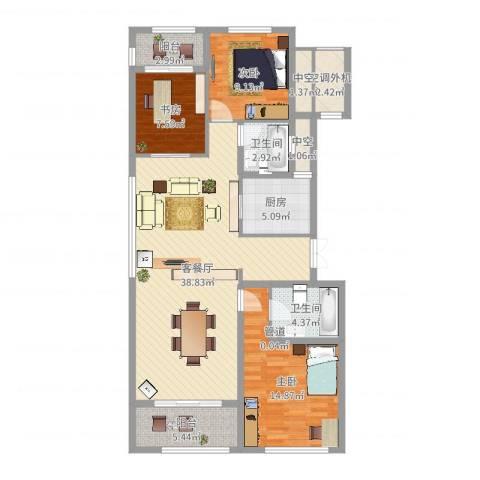 九龙仓国宾1号国宾山3室2厅2卫1厨120.00㎡户型图