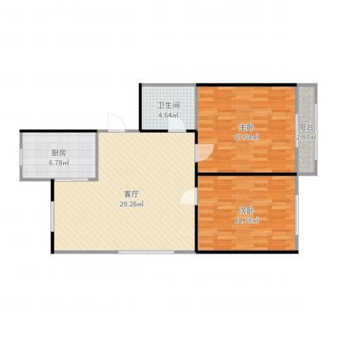 丰盈小区2室1厅1卫1厨94.00㎡户型图