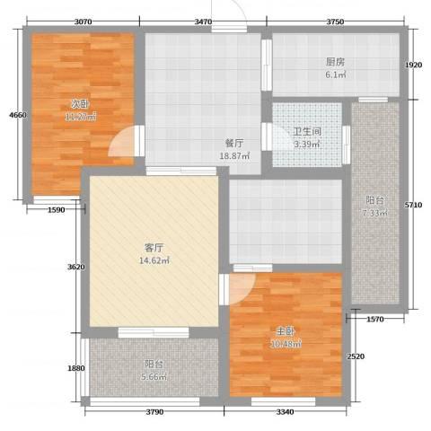 金河名都2室2厅1卫1厨97.00㎡户型图