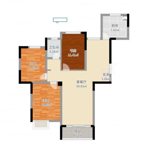 五洲龙湾3室2厅1卫1厨114.00㎡户型图