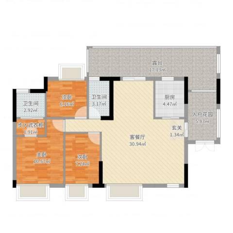 诚丰怡园3室2厅2卫1厨113.00㎡户型图