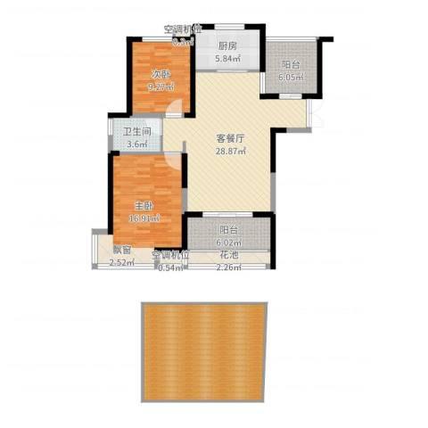 蓝鼎滨湖假日清华园2室2厅1卫1厨131.00㎡户型图