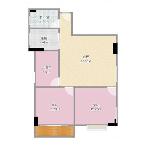 燕东大厦B座501房3室1厅1卫1厨86.00㎡户型图
