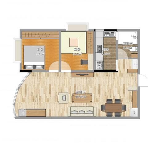 叠彩园2室2厅1卫1厨77.00㎡户型图