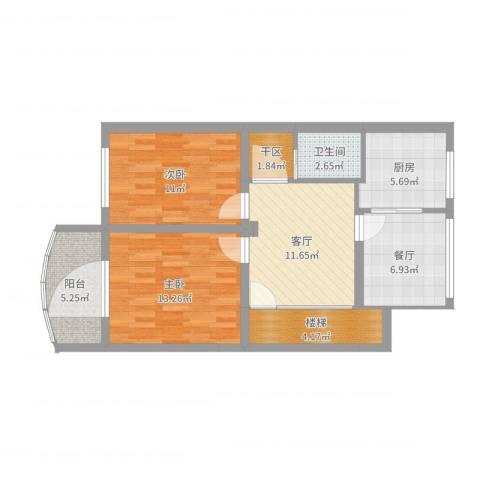 广安小区2室2厅1卫1厨78.00㎡户型图