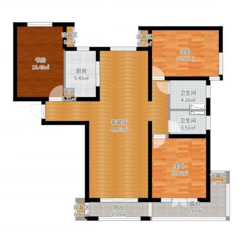 力高阳光海岸3室2厅2卫1厨132.00㎡户型图