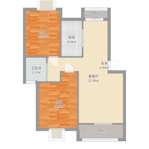 鑫唐佳苑2室2厅1卫1厨81.00㎡户型图