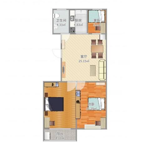 田美家园2室1厅1卫1厨97.00㎡户型图
