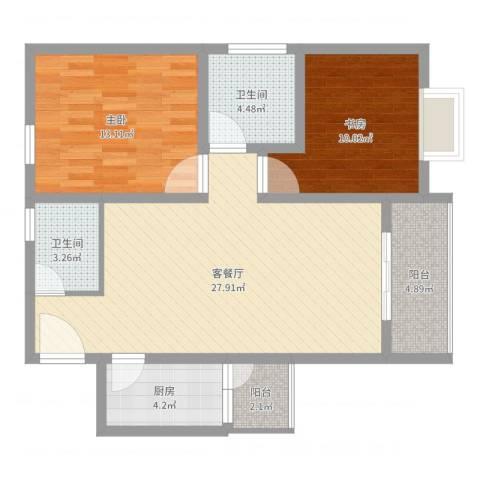 鑫龙花苑2室2厅2卫1厨87.00㎡户型图