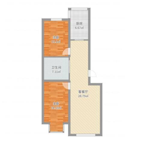 武夷嘉园2室2厅1卫1厨85.00㎡户型图