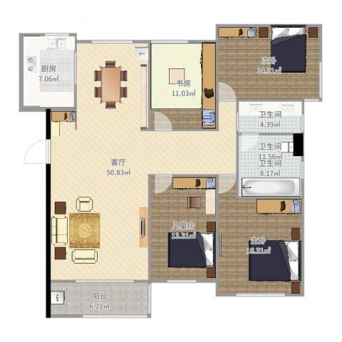力高阳光海岸4室1厅1卫1厨163.00㎡户型图