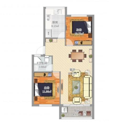 邻里花园2室1厅1卫1厨72.35㎡户型图