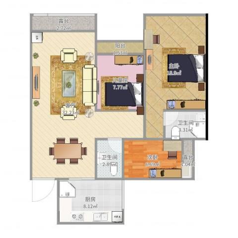 云湖花园3室1厅2卫1厨106.00㎡户型图