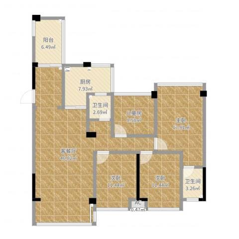 荣旺▪东方国际4室2厅2卫1厨146.00㎡户型图