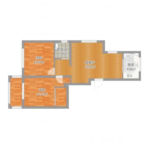 黄浦滩名苑2室2厅1卫1厨78.00㎡户型图