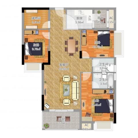 利丰城市花园3室2厅4卫1厨132.00㎡户型图
