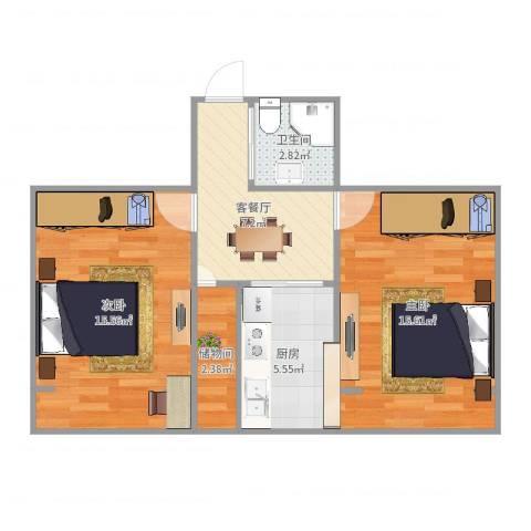 叙丰里2室2厅1卫1厨61.00㎡户型图