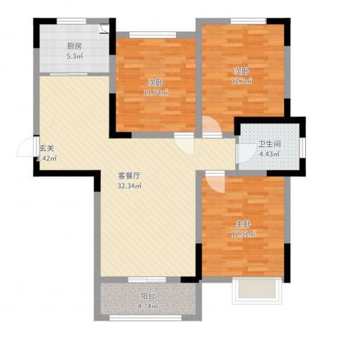 浦江馨都3室2厅1卫1厨105.00㎡户型图