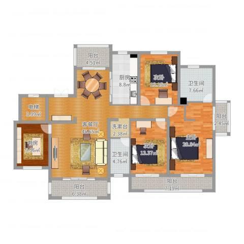 新地阿尔法国际社区4室2厅2卫1厨185.00㎡户型图