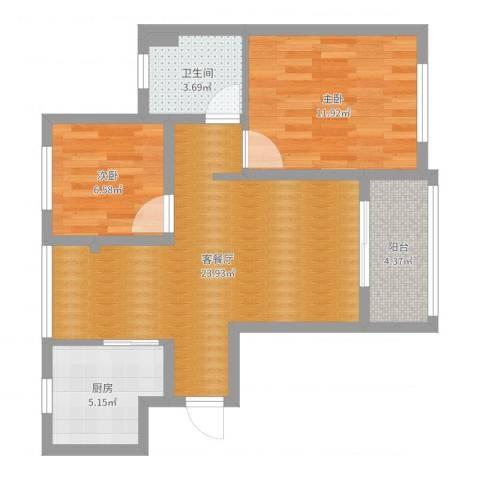 浦江馨都2室2厅1卫1厨70.00㎡户型图