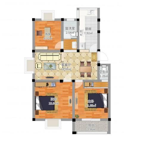 永泰家园3室4厅1卫1厨91.00㎡户型图