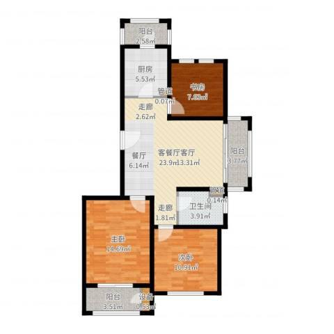 浦江颐城尚院3室2厅1卫1厨96.00㎡户型图