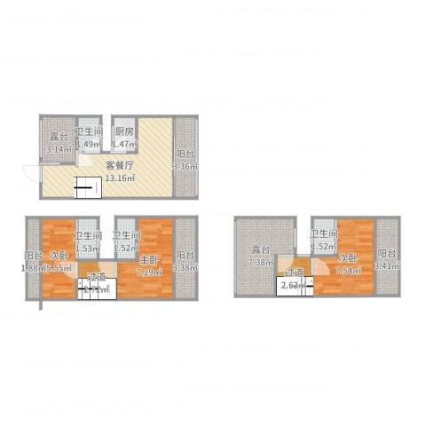 皇庭波西塔诺3室2厅4卫1厨86.00㎡户型图