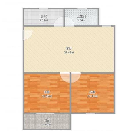 新育公寓2室1厅1卫1厨78.00㎡户型图