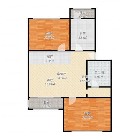 新塘桥生活广场写字楼2室2厅1卫1厨112.00㎡户型图