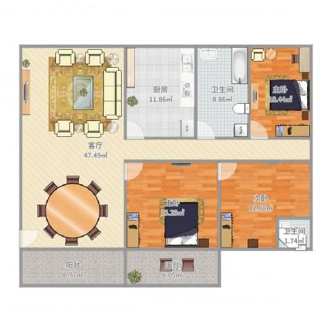 好日子大家园D区3室1厅2卫1厨152.00㎡户型图