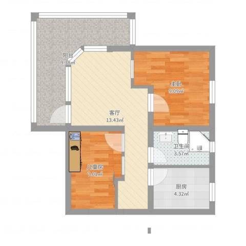 沁春园一村2室1厅1卫1厨59.00㎡户型图