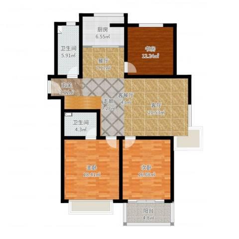 欧美世纪花园3室2厅2卫1厨139.00㎡户型图
