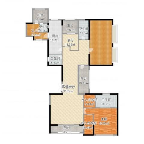 新天鹅堡1室3厅4卫1厨301.00㎡户型图
