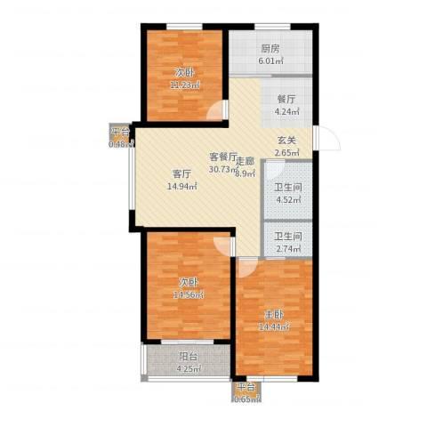 明日星城3室2厅2卫1厨112.00㎡户型图