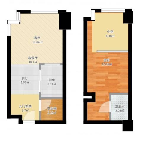 宝能青春汇1室2厅2卫1厨54.00㎡户型图