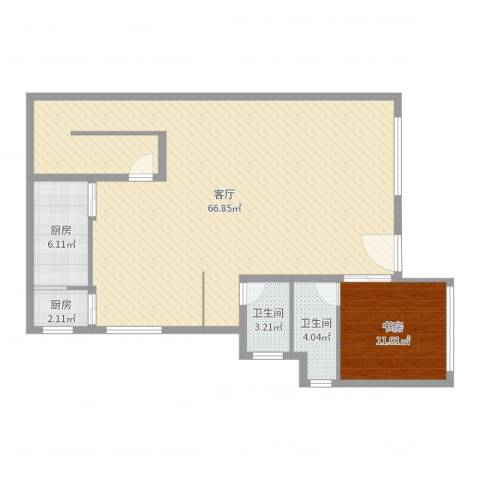 棕榈岛1室1厅2卫2厨117.00㎡户型图
